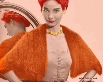 Almost FREE Vintage 1951 Angora Evening Stole Wrap #344 PDF Digital Knit Pattern