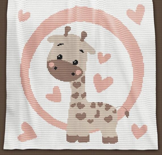 Giraffe Baby Blanket Knitting Pattern : CROCHET Pattern - Baby Blanket Pattern - Giraffe - Crochet Graph - Giraffe Cr...