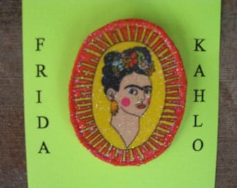 Frida Kahlo Pin, Brooch, Fiber Art Pin, Artist Jewelry, Frida Kahlo, Fabric Jewelry, Southwestern, Mexican Artist