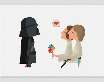Illustration. Happy father's day_Leia & Luke. Star Wars. Print. Wall art. Art decor. Hanging wall. Printed art.Home Gift idea. Sweet home.