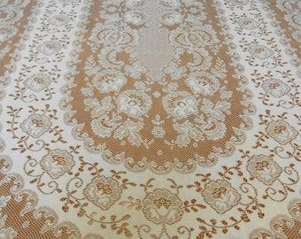 "Large Lace Tablecloth Vintage Light Creamy Ivory 59.5"" x 92"" Oval Shape, Elegant Lightweight Table Decor Party Wedding Holiday, Minor Damage"