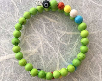 Feng Shui Productive Cycle Five Element Evil Eye Protection Spiral Memory Wire Cuff Bracelets