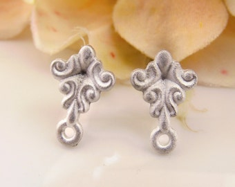Victorian Flourish Matte Pewter Earring Studs with Loop Cast Pewter Ear Post Findings – Pair