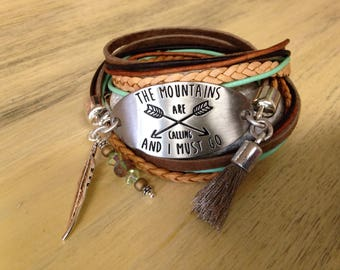 Quote Bracelet Motivational Leather Bracelet Wrap Cuff Graduation Gift for Girlfriend Mountains at Calling Bohemian Brown and Mint Green