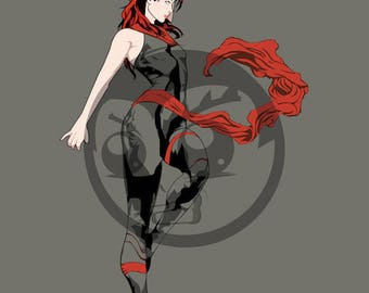 Elektra Art Print, Marvel Comics, Superhero, Defenders, Fan Art, 16x23 Poster Print