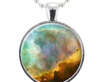 Omega Nebula Necklace, Galaxy Jewelry, Universe Pendant (1153S25MMBC)
