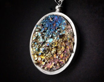 "Bismuth Necklace, ""Venus at Sunset"" Bismuth Crystal Jewelry in a High Quality Bezel, Pendant on Leather or Snake Chain"