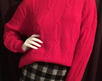 Fuzzy Red Wool and Angora Turtleneck Sweater Super Soft M/L 80s 90s