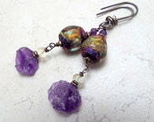 Sterling Silver Earrings Purple Basha Bead and Rough Amethyst and Citrine Drops  February Birthstone