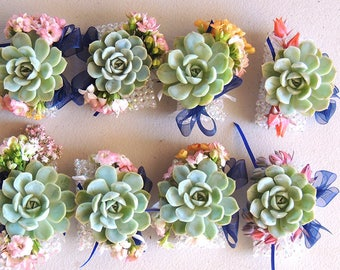 3 Wrist Corsages with blue bows
