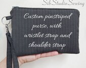 Custom Pin Striped Purse with Wristlet Strap and Shoulder Strap