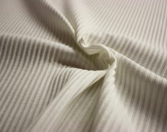 """Off-White Ribbed Cotton Spandex Jersey 52"""" Wide Per Yard"""