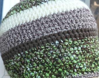 BEANIE hat Green brown Cream tones, large stripes crochet beanie
