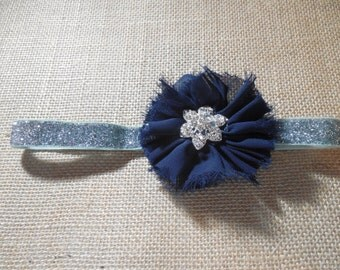 Navy Blue and Silver Sparkle Headband