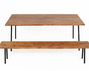 Modern Dining Set Oak Table and Bench Massive Oak on Steel
