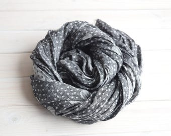 Scarf, Women scarf, Men scarf, Summer linen scarf, Linen wrap scarf, linen scarf, Black polka dot linen scarf with fringes, Long scarf
