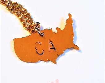 Minimal Gold, Rose Gold or Silver Metal America USA Charm Necklace Dainty Mini USA