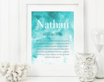 Watercolour Baby Art - Name Meaning Art - Name Meaning Baby - Baby Room Name Art - Personalized Name Baby Boy Gifts - Baby Name Art