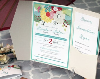 Pocket Wedding Invitations - Pocket Fold Wedding Invitations - Floral Wedding Invitations - Elegant Modern Wedding Invitations - Invitations