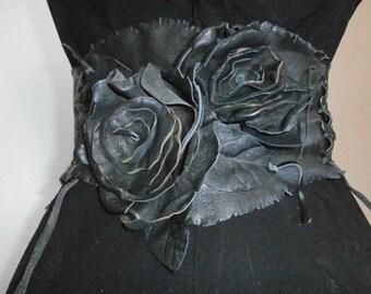 Black Leather Flower Corset Belt