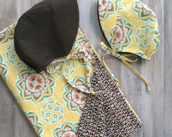 Reversible Sun Bonnets - light mustard/brown