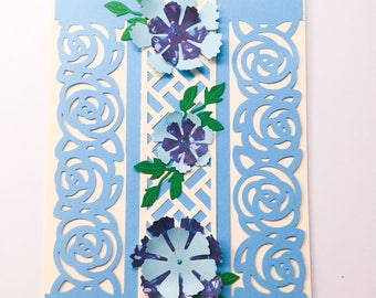 Beautiful fuchsia flower card - blue flowers - hot pink - roses - feminine card - trellis - delicate rose die cuts - roses on the lattice