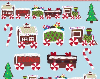 INSTANT DOWNLOAD - Printable Gingerbread Train Digital Clip Art - For Commercial and Personal Use - Digital Design