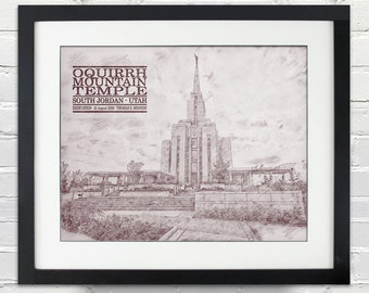 Oquirrh Mountain Temple Sketch Print, Typography Poster, Print or Canvas, LDS, 8x10, 11x14, 16x20, 20x30