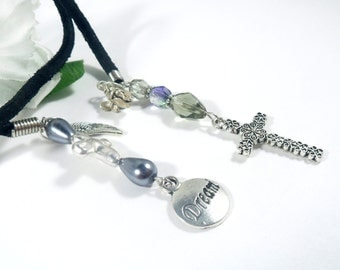 Silver Cross Charm Black Book Thong, Angel Charm Bookmark, Book Bling Suede Bookmark, Book Accessories, Christian Gifts, Gift for Her
