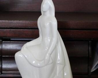 "Geza de Vegh porcelain kneeling woman figurine very rare art deco ""Knowledge "" figurine - pristine condition Lamberton Scammell Co. 1930's"