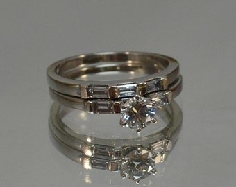 DEADsy LAST GASP SALE White Gold Diamond Wedding Set  // 14K White Gold Engagement Ring Half Carat Wedding Set Vintage