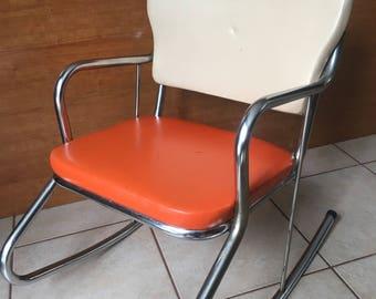 Childu0027s Kidu0027s Metal Rocking Chair With Vinyl Seat Retro Naugahyde Hopalong  Cassidy Red Vinyl Cream Vinyl