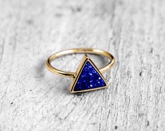 TITANIUM Druzy TRIANGLE ring with Achatdruse | gold