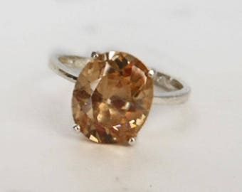 Sterling Pink Glass Rhinestone Ring      Size 8 1/4   Reduced