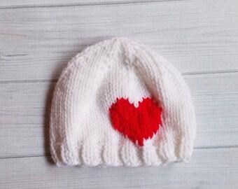 Hand Knit Baby Valentines Hat, Knit Baby Hat, Heart Baby Hat, Baby Valentines Gift, Baby Gift, Valentines Day Hat, Baby Heart Hat