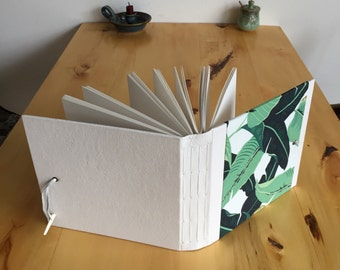 Watercolour Sketchbook in Banana Leaf Pattern Fabric and White Leather