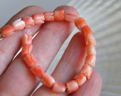 Vintage carved coral tulip beads mini strand - jewelry supply