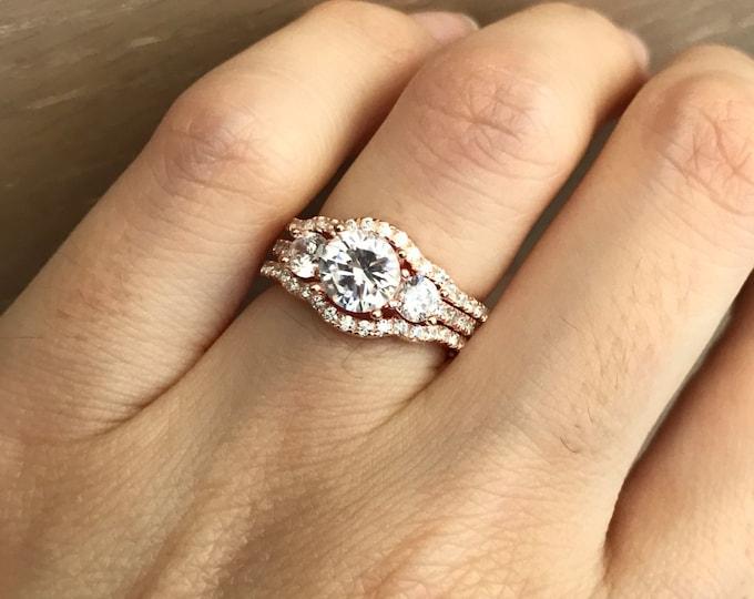 Rose Gold Bridal Set Ring- Three Stone Engagement Ring Set- Matching Band Promise Ring- Wedding Ring Set- Rose Gold Diamond Stimulant Ring