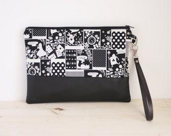Alice in wonderland purse, black purse, little handbag, little pouch, black wrislet clutch, kawaii handbag - Alice in wonderland