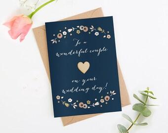 Wedding Card Navy Floral