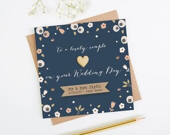Personalised Wedding Card - Navy Floral