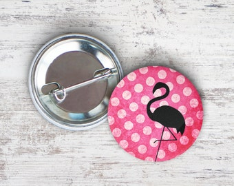 "Flamingo Polka Dots 2.25"" Pinback Button"