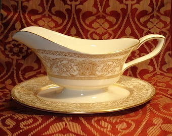 Royal Worcester Embassy White and Gold Embossed Gravy Boat with Attached Plate