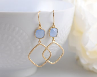 The Janine Earrings -  Ice Blue/Gold