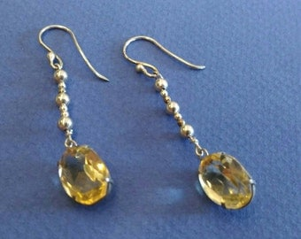 GRACEFUL  citrine and silver  earrings