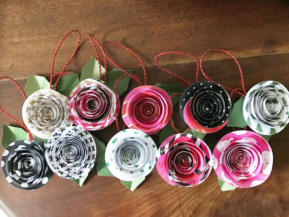 Paper flower ornaments, christmas ornaments set of 10 ornaments
