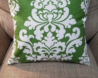 Green and White Damask Print Slub Cotton Pillow Cover - Various Sizes
