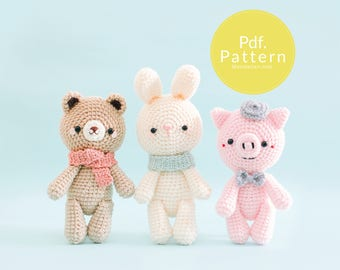 "PDF. PATTERN - ""Dream Team"" Collection (Set 1: Bear, Bunny and  Pig), Amigurumi pattern, Crochet pattern, Plush pattern, Gifts for Kids."