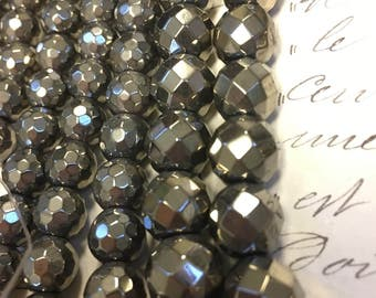8mm or 10mm pyrite, faceted round beads, beautiful finish, silver pyrite beads, pyrite, 42 or 58 beads, choose size, large hole pyrite