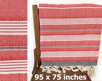 Throw Blanket Turkish Bedspread Sofa Cover Turkish Furniture Throw Handmade Cotton Sofa Throw Coverlet Red Black XX LARGE 240 x 190 cm